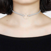 """New Fashion Gray Velvet Suede Choker Necklace Gold Plated Circle Ring Pendant 33cm(13"""") long, 1 Piece"""