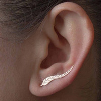 Tomtosh Susan' NEW Fashion Ear Sweep Wrap Silver Gold Ear Climber Leafs Ear Clip Cuffs Earrings for Women Lady Free shipping