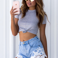 Ribbed Jersey Front Knot Crop Top
