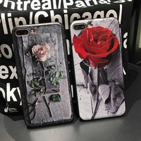 Luxury 3D Roses Cute Case For iPhone 6 6S/6 6S Plus Cover Phone Case Soft Back TPU Protective Coque For iPhone 7 / 7 Plus Case
