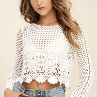 Crystal Grid White Crochet Long Sleeve Crop Top