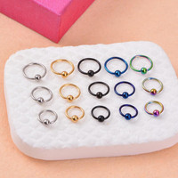Stainless steel Captive Bead Rings BCR Lip Nose Eyebrow Nipple Penis Piercings Septum Ring Body Piercing Jewelry
