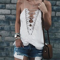 Sexy Deep V Collar Bandage Lace Vest Top