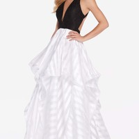 Alyce 60148 Black and White Pattern Dress
