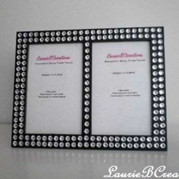 BLACK & BLING FRAME - 4 x 6 Double Picture Frame -black w/ clear rhinestones