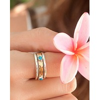 Grandview Meditation Ring * Turquoise * Sterling Silver 925 and bronze * BJS009