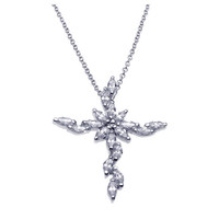 .925 Sterling Silver Rhodium Marquise Cross Necklace