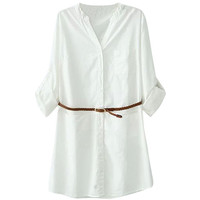 White V-neck Button Down Long Sleeve Blouse