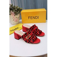 Fendi Women's Leather Fashion High-heeled Sandals Shoes