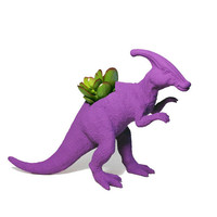 Up-cycled Dark Purple Duckbill Dinosaur Planter - With Succulent Plant