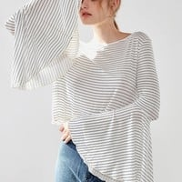 White Stripe Extreme Bell Sleeve T-shirt