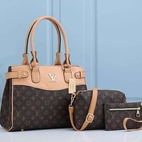 LV Louis Vuitton new product retro print color matching three-piece shoulder bag messenger bag small wallet