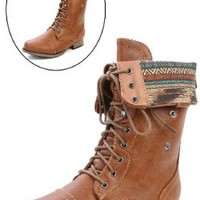 Wild Diva Women Jetta-25F Lace Up Combat Military Boots With Foldable Cuff, Whisky, 9