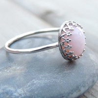 PINK OPAL Sterling Silver Ring // Pink Oval Gemstone Ring // Opal Ring // made to order