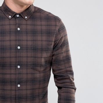 ASOS Skinny Check Shirt In Brown