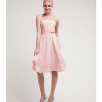 Blush Pleated Chiffon Short Dress 2015 Prom Dresses