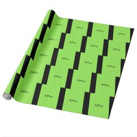 Neon Green and Black Personalized Wrapping Paper