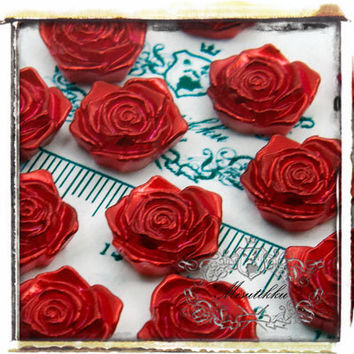 6 PCS X 18mm Red Roses Cabochon Pearlized Resin Small Flowers Cabochons -Decora / Decoden embellishment Diy Craft Art Supplies (FL10R)