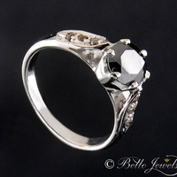 1.3 ct Black diamond engagement ring in 925 silver-size as per request