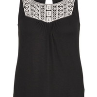 Plus Size - Embroidered Front Flowy Tank - Black