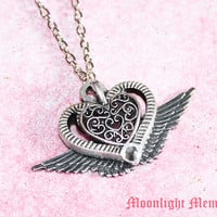 Sailor Moon Necklace - Inspired by Sailor Moon Eternal Moon Article - Silver Heart Wing Sailor Moon Necklace - Handmade Jewelry Gift