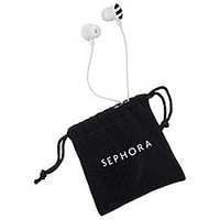 Sephora Earbuds Black & White Limited-Edition 2013, NEW With Re-Usable Velvet Pouch!