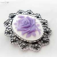Purple rose cameo brooch pendant, gothic necklace, gift for her, bridesmaid jewelry