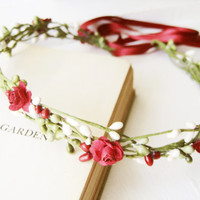 Red Pip Berry Headpiece, Woodland Headband, Pip Berries, Rustic Hair Band, Country Wedding, Romantic, Fairy, Simple, Small, Flower Girl