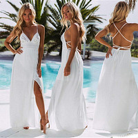 Women's Beach Sexy Dress Fashion Floral Dress Solid White V-neckline Deep Waist High Ankle-length Dress Robe Femme