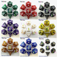 Multi-Sided Dice With Pearlized Effect D4,6,8,10,10%,12,20 dice sets
