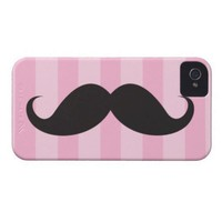 Black mustache and pink stripes iPhone 4 case from Zazzle.com