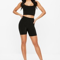 Missguided - Black Slinky Cycling Shorts