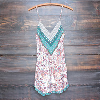 boho romper in multi + jade