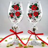 Red and White Romantic Wine Glasses