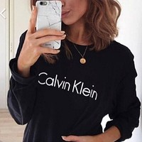 """""""Calvin Klein"""" Print Round Neck Long Sleeve Pullover Sweater Top"""