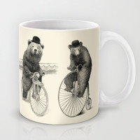Bears on Bicycles (Black & White Option) Mug by Eric Fan
