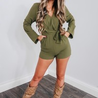 Don't Waste Time Romper: Olive