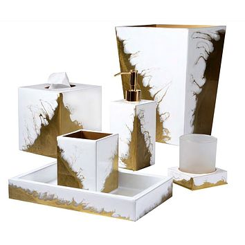 Lava Pure White & Gold Bath Accessories by Mike + Ally