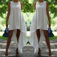 White Sleeveless Ankle-Length Dress