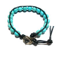 Bohemian turuqoise wrap friendship bracelet - turquoise beads brown dark leather silver plated button free people inspired from Zurdokero