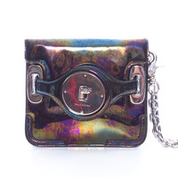 Iridescent Patent Leather Clutch with Wrist Strap