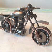 """Collectible 5"""" long Vintage Handmade metal craft Harley Davidson Motorcycle Model Diecast for home office Bar Decoration"""