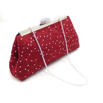 Red Bordeaux Satin and Lace and Black Rhinestone Clutch