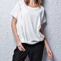 Round Neckline Shirt with Grid Cut-Out Details