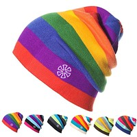 Women's Winter Hats Rainbow Striped Ski Hat Unisex Warm Knitted Men Hat Beanies Fashion Hip Hop Skullies for Men Women