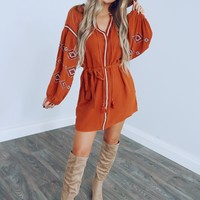 Adobe Hills Dress: Burnt Orange/Multi