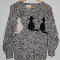 Black and White Fuzzy Hipster Cat Sweater Small