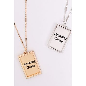 "MYN1421MGAMZ - ""AMAZING GRACE"" ETCHED BRASS BOX PENDANT NECKLACE"