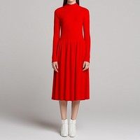 WOMEN U 3D MERINO RIBBED MOCK NECK LONG-SLEEVE DRESS