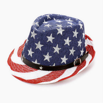 American Flag Straw Fedora Hat with Star Leather Buckle Belt 4th of July
